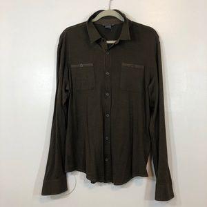 John Varvatas Olive green Button Down Silk Shirt